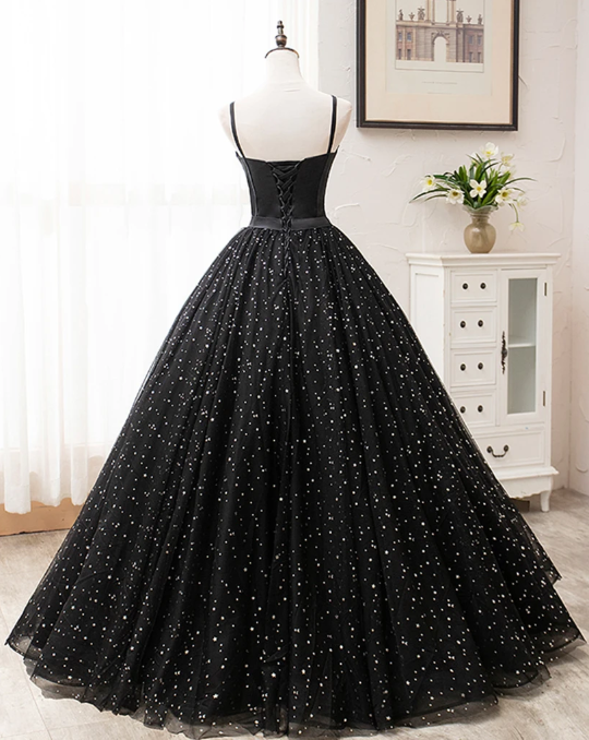 Black Tulle Satin Sweetheart Neck Long Prom Dress, Evening Dress