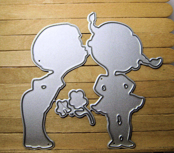 Boy Kissing Little Girl Cutting Die, Paper Crafting
