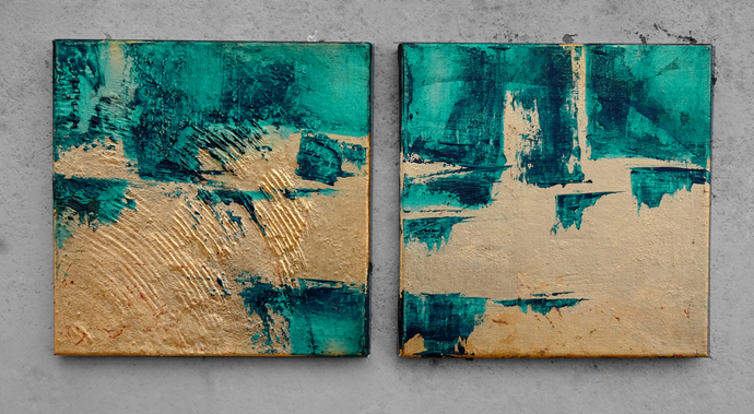 Home decor, oil painting, wall art, Set of 2 Painting, Contemporary Art,