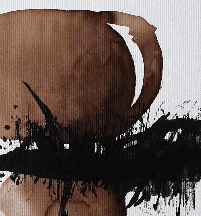 Original Ink Art Abstract, Contemporary Wall Art, Modern Art, black brown white