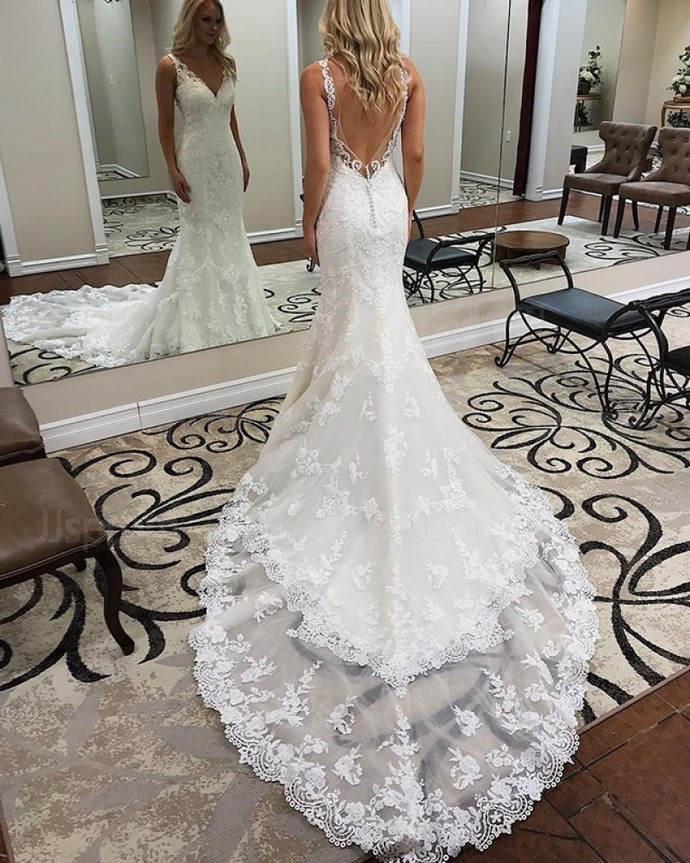 white applique backless sleeveless wedding dress v-neck tulle lace