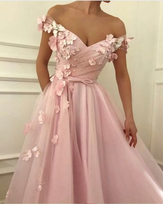 2020 Pink Prom Dresses off the shoulder Prom Dresses Flowers Appliques Soft
