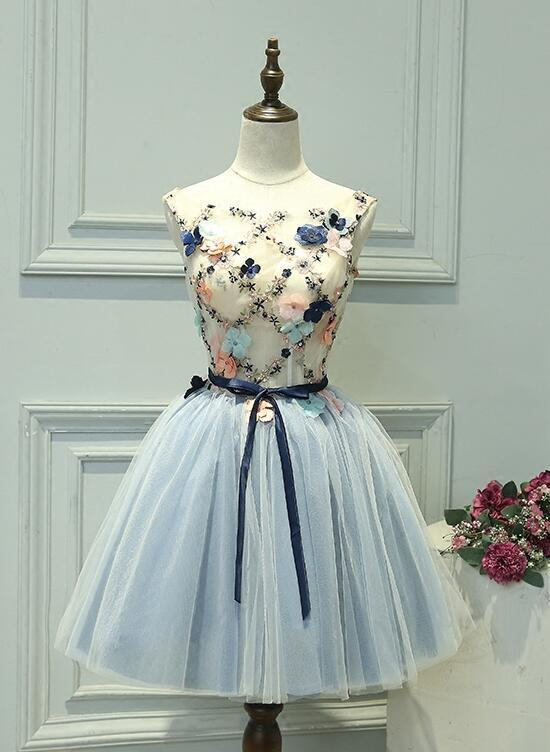 Lovely Round Neckline Floral Light Blue Homecoming Dress, Blue Prom Dress 2020