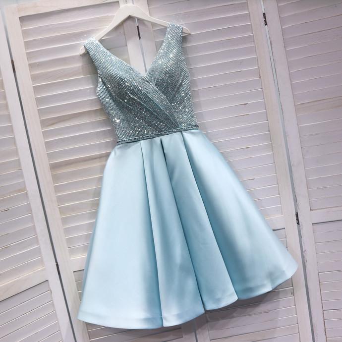 Cute Light Blue Satin V-neckline Short Party Dress, Sequins Prom Dress 2020