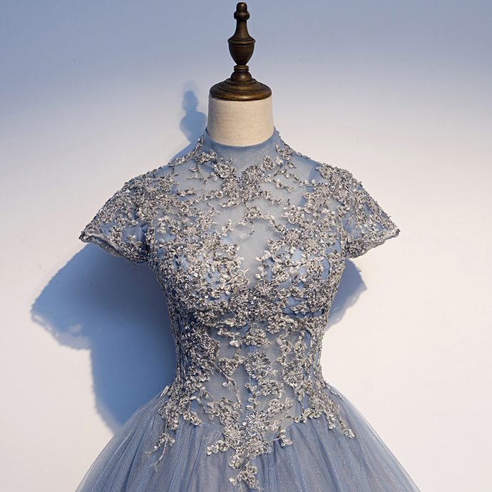 Gorgeous Blue-Grey Tulle Sweet 16 Gown, Quinceanera Dresses