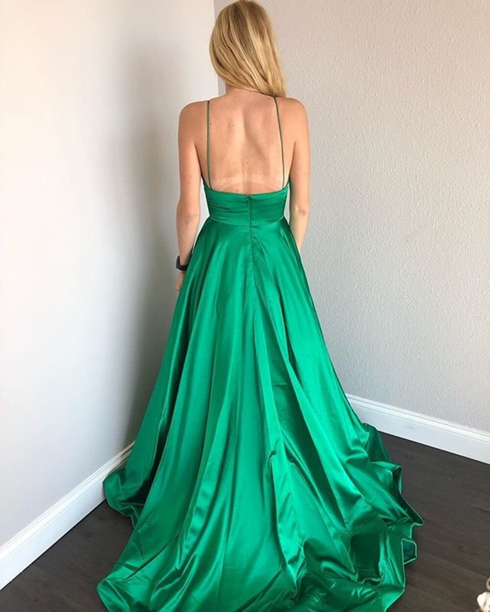 Long Satin Prom Dresses Spaghetti Straps Evening Gowns with Pockets A Line