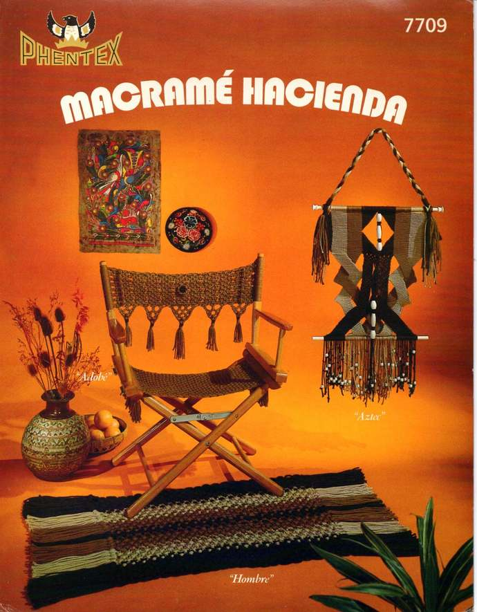 Macrame Hacienda Vintage Pattern Book Chair, Lamp Shade, Pillows, Home Decor