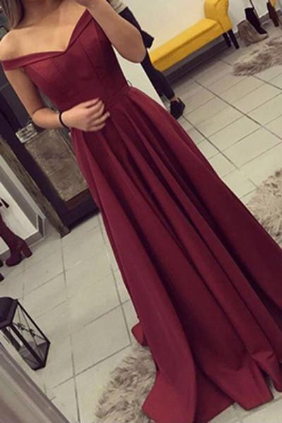Simple Burgundy Off The Shoulder Long Prom Dresses/Evening Gown