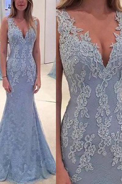 Elegant Lace Blue Long Mermaid Prom Dress, Charming Evening Party Gown