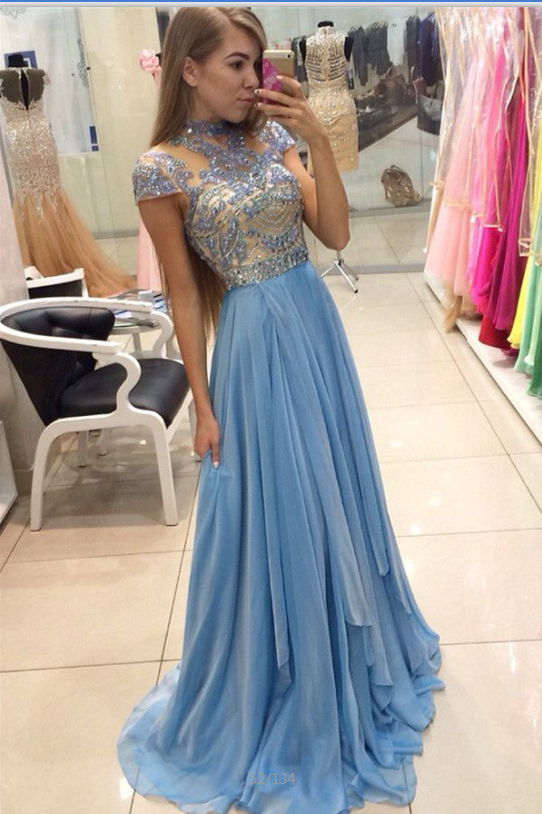 Light Blue Long Beading High Neck Sparkly Cute Prom /Evening Dresses