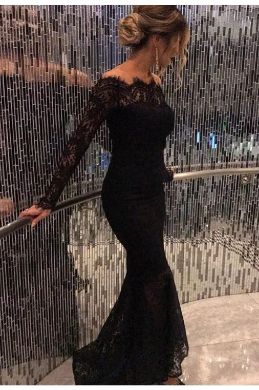 Mermaid Black Elegant Off the Shoulder Long Lace Long Sleeves Sexy Prom Dress