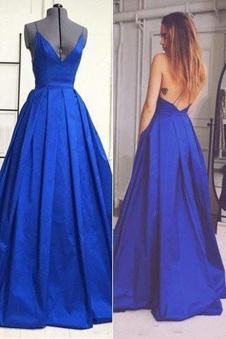 Royal Blue Backless Sexy A Line Long Simple Ball Gown Spaghetti Strap Prom