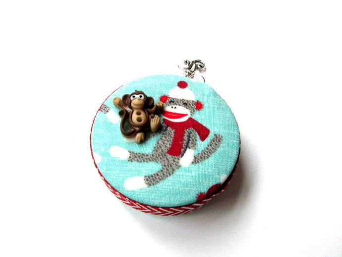 Measuring Tape with Winter Sock Monkeys Small Retractable Tape Measure
