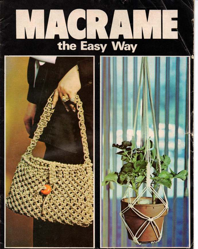 Macrame The Easy Way 1976 Pattern Magazine Purse, Jewelry, Belt, Lamp Shade,