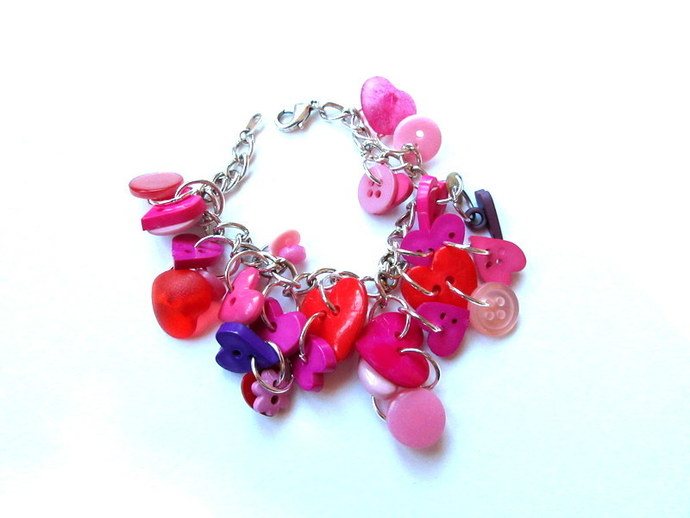 All About The Buttons Heart Button Bracelet FREE US Shipping