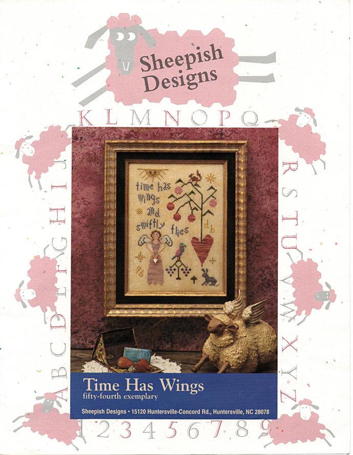 Time Has Wings Cross Stitch Pattern Sheepish Designs Angel, Bird, Tree Picture