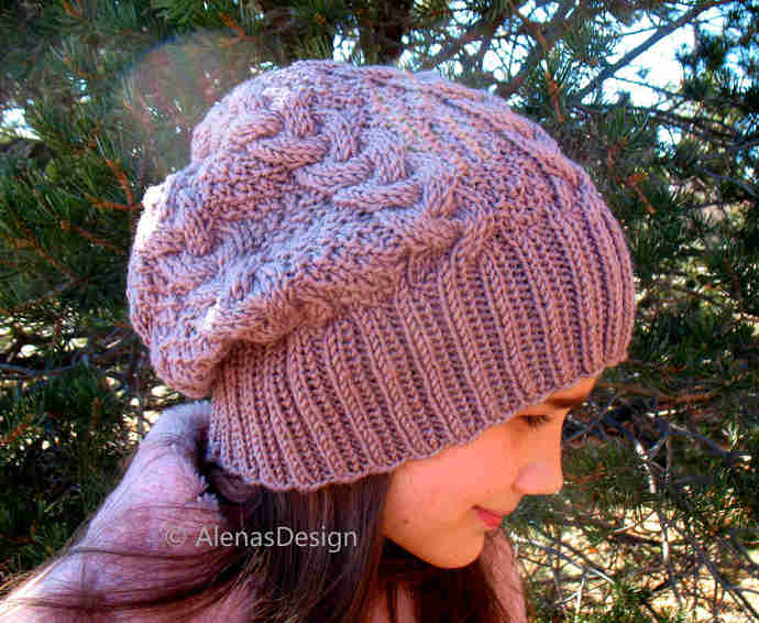 Braided Cable Beanie Knitting Hat Pattern #248, Slouchy Hat Pattern, Knit Hat