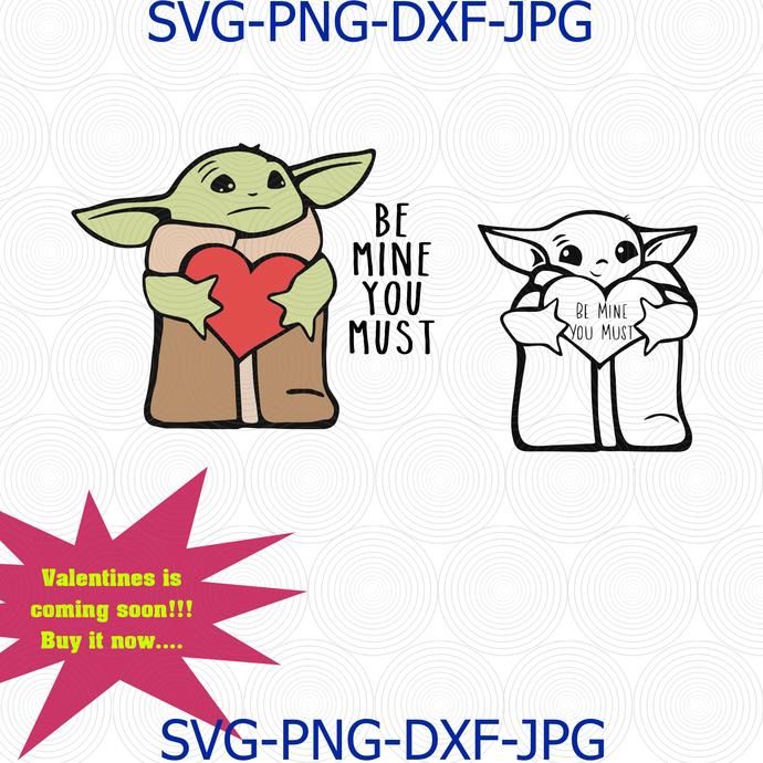 Baby Yoda Svg Baby Yoda Valentine S Day Svg By Digital4u On Zibbet
