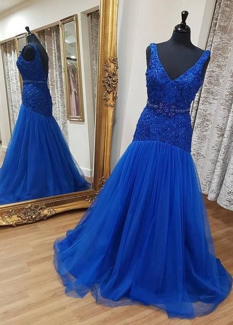 Charming Royal Blue V neck Tulle Long Prom Dress, Appliques Mermaid Evening