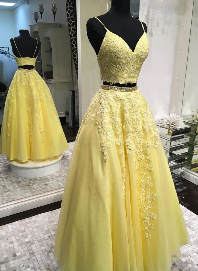 Yellow V neck Tulle Long Prom Dress, Appliques Two Piece Prom Dresses, Spaghetti