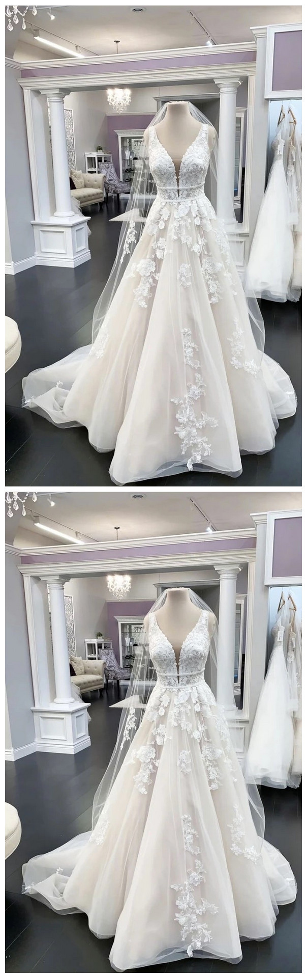 Charming V neck Appliques Tulle Wedding Dress, Formal Bridal Gowns