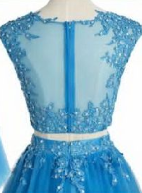 Elegant Blue Tulle Short Homecoming Dress, Appliques Two Piece Prom Dress