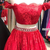 Off Shoulder Red Lace Party Dress, Two Piece Prom Dress, Short Homecoming Dress