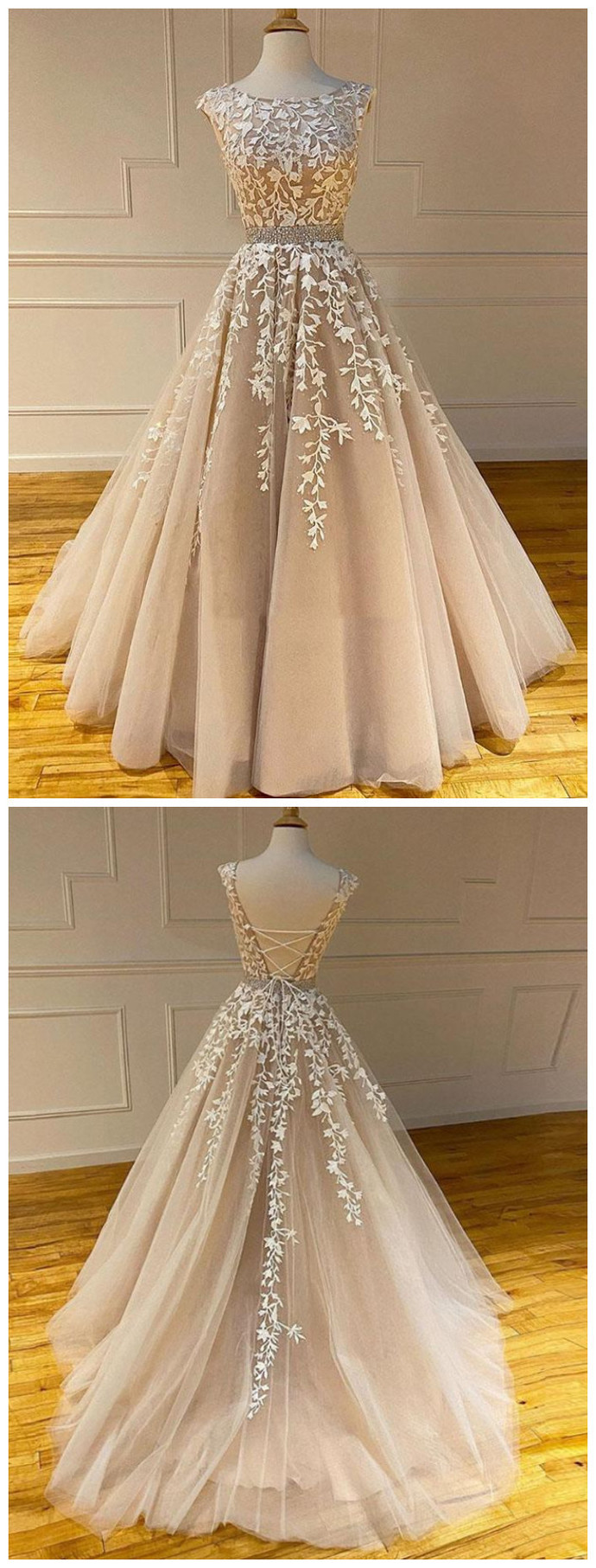 Princess Tulle Champagne Backless Beads Ball Gown Prom Dress, Appliques