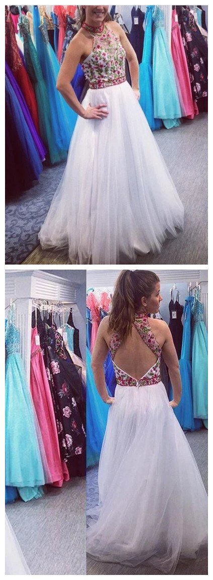 White Long Prom Dress Beaded Open Back Party Dress With Floral Appliques