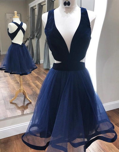 Deep V neck Short Prom Dress, Navy Party Gown