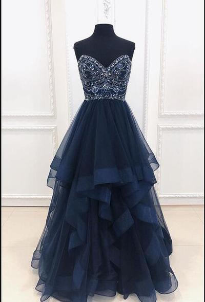 Charming Navy Blue Beaded Tulle Long Prom Dress, A Line Evening Dress