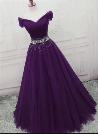 Dark Purple Tulle A Line Evening Dress, Beaded Formal Prom Dresses, Women Dress
