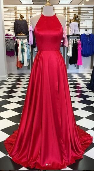 Simple O neck Red Long Prom Dress, Sweep Train Long Evening Dress