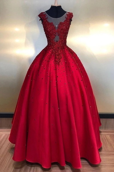 Appliques Formal Evening Dresses, Red Beaded Ball Gown Prom Dresses, Women Dress