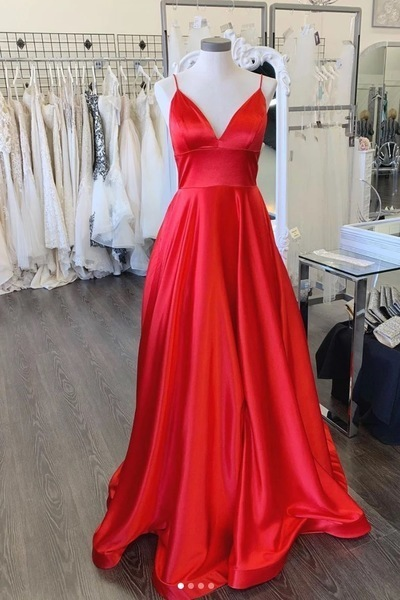 Charming V neck Red Long Prom Dress, Spaghetti Straps Open Back Evening Dress