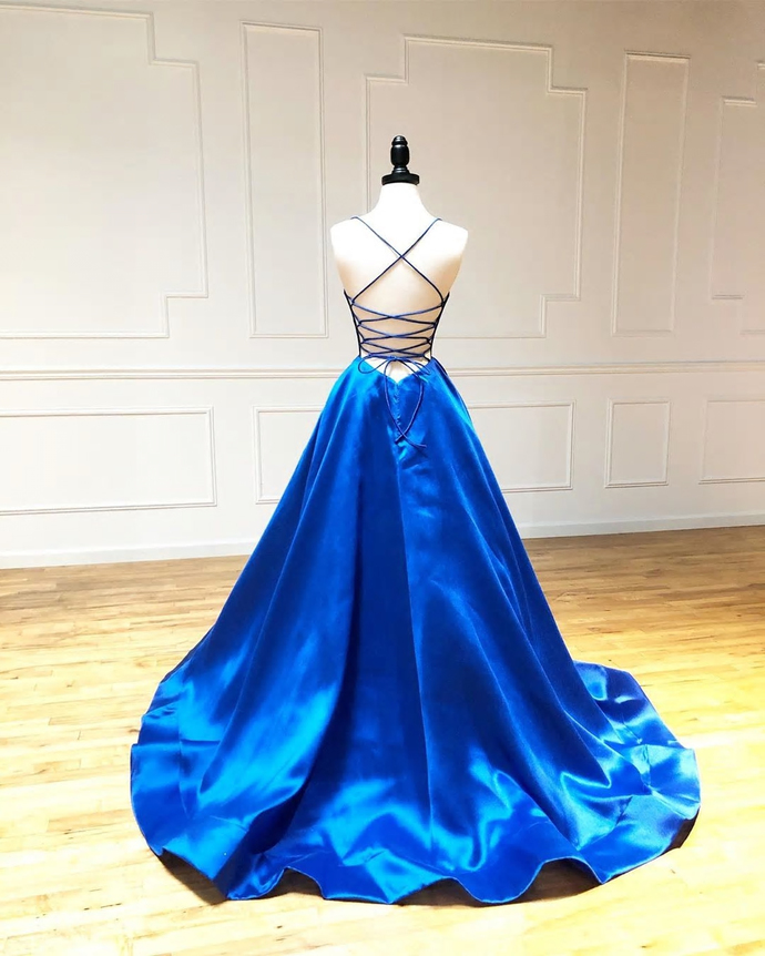 Blue Sexy Prom Dresses Long Satin Straps Evening Dress Long Gown Open Lace Up
