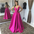 Satin Prom Evening Dresses A-Line Illusion V-Neck Simple Formal Long Dresses