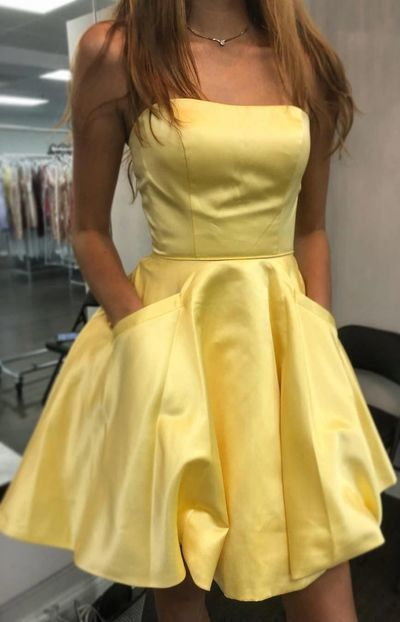Short Strapless Satin Yellow Homecoming Dress with Pockets