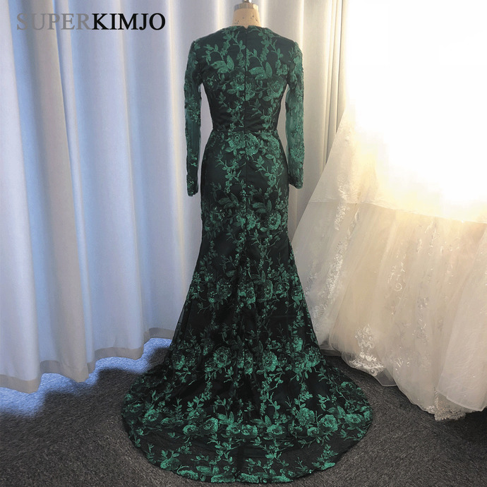 detachable train green evening dresses long sleeve sequin appliqué luxury