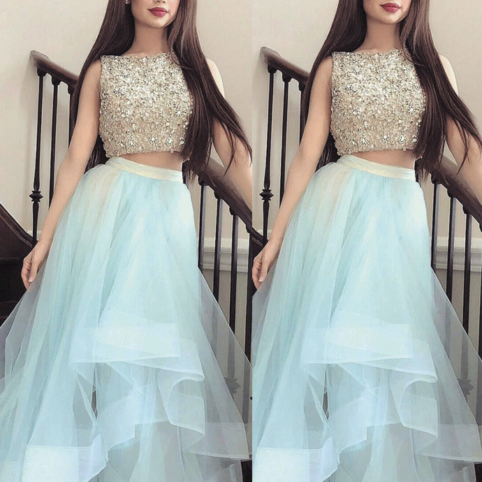 2 piece prom dresses long beaded crystals tiered elegant tiffany blue elegant