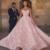 lace applique prom dresses long pink 3d flowers elegant sweetheart neckline a