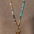 ReFreshing Long Beaded Necklace with Charms Boho Jewelry by KnottedUp In Blues &