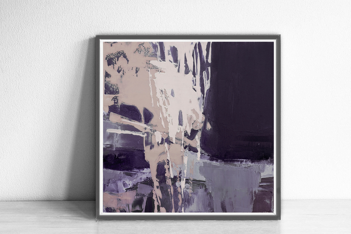 abstract wall art, purple abstract, square wall art violet, Modern Wall Art,