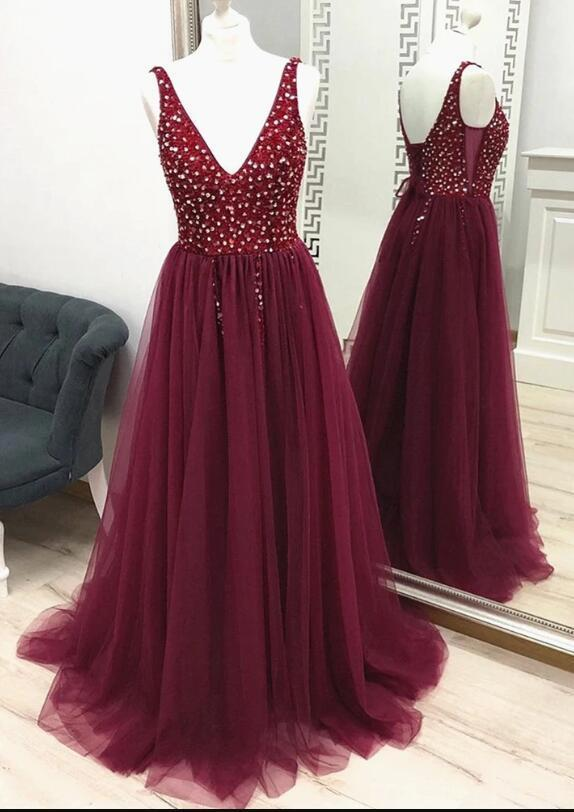 Charming Burgundy Beaded Tulle V-neckline Long Party Dress, Prom Dress 2020