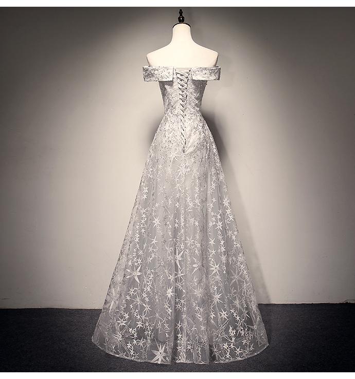 Charming Grey Long Party Dress, Beautiful Off Shoulder Wedding Prom Dress 2020