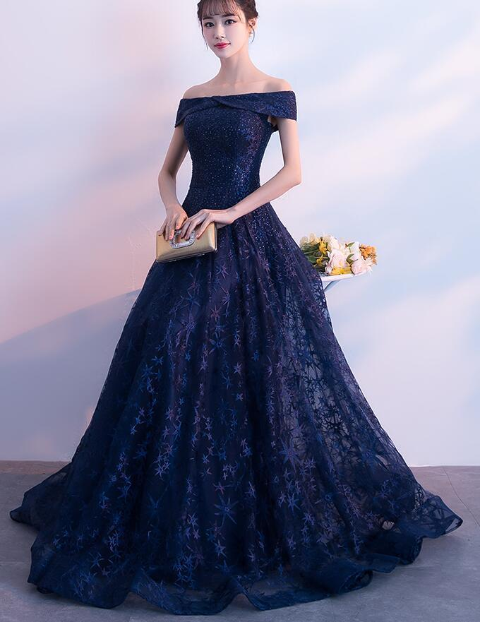 Gorgeous Navy Blue Floor Length Tulle Party Gown, Prom Dress 2020
