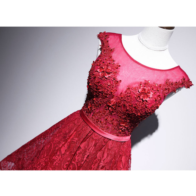 Lovly Round Neckline Red Short Party Dress, Red Homecoming Dress 2020