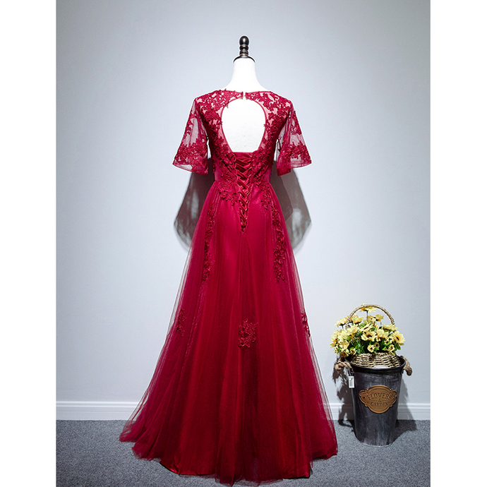 Beautiful Red Tulle A-line Prom Dress 2020, Red Bridesmaid Dress
