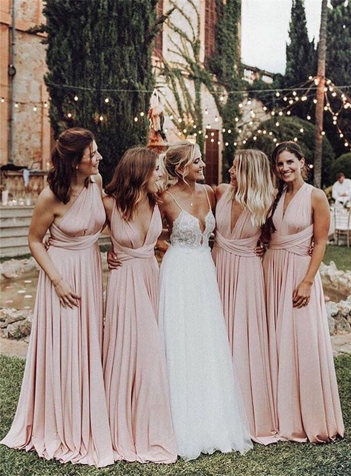 Charming Pink A Line Bridesmaid Dress, Wedding Guest Dress