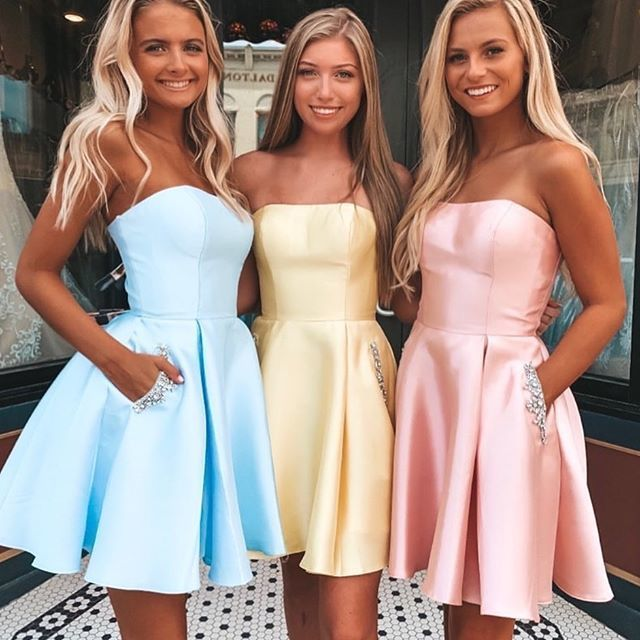 Cute Strapless Party Dress, Mini Satin Cocktail Dress, Short Prom Dress